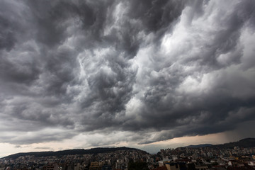 Storm clouds with contrast between dark gray and white