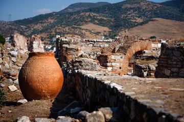 Large clay pot. Ruins of St. John Church in Selcuk. Turkey