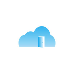 Cloud with door open template vector