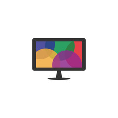 LCD monitor with colorful bubble on screen