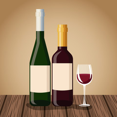 Wine bottle and cup icon vector illustration graphic design