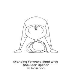 Kid yoga pose. Standing forward bend