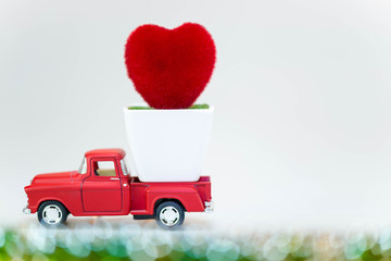 Valentines day , carry on red Truck, Lovely Heart , isolated on white background