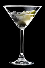 Dirty martini in glass.