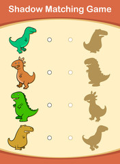 Cute cartoon dinosaur shadow matching game