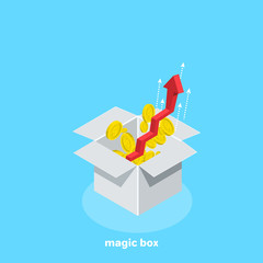Aspiring red arrow in the up and scattered coins from the white box, isometric image