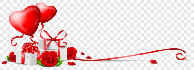 Valentinstag Banner mit Herz Ballons, Rosen, Geschenken Hintergrund transparent