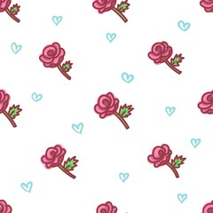 seamless pattern about valentines day. valentines day seamless pattern. background for valentines day. Vector Illustration. rose seamless pattern. floral seamless pattern
