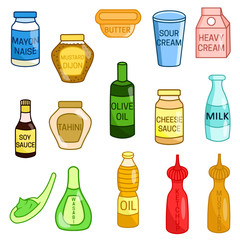 Set of different kinds of food vector colored illustration