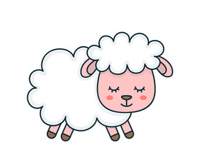 Cute smilng funny sleeping sweet sheep.