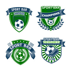 Vector football sport bar icons of soccer balls