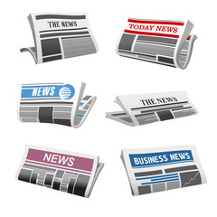Newspaper daily news vector isolated icons