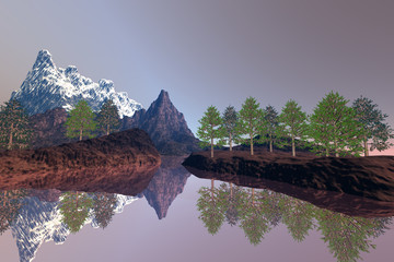 Beautiful lake, an alpine landscape, trees on the ground, reflection on water and a snowy peak in the background.