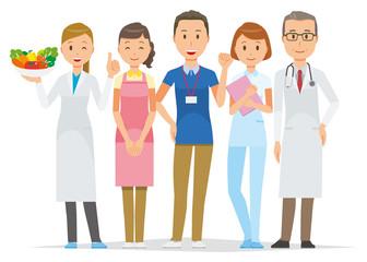 Five medical staff members