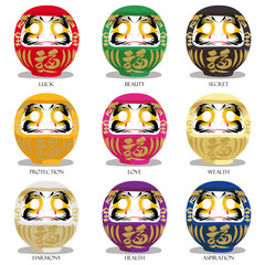 Japanese doll lucky colorful icons. Traditional fortune symbol of Japan. Red-luck,green-beauty,black-secret,yellow-protection,pin-love,gold-wealth,white-harmony,violet-health,blue-work success.