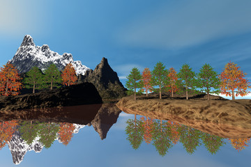 Trees next to the lake, an autumn landscape, reflection on water, a snowy mountain and a blue sky.