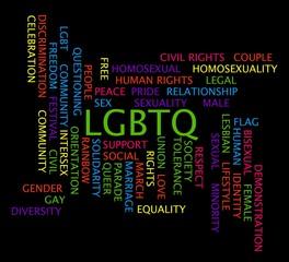 LGBTQ word cloud on a black background