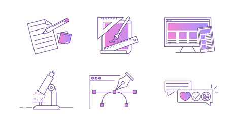 Line icons for the  design website. Concept development