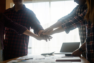 Business teamwork join hands together. Business teamwork success concept