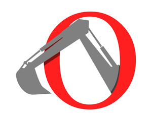 alphabet excavator excavation heavy machinery builder image vector icon logo