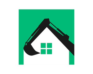 house silhouette excavator excavation heavy machinery builder image vector icon logo