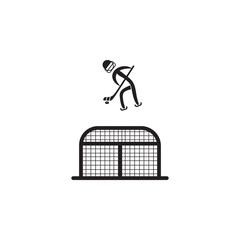 hockey player in front of the gate icon. Element of figures of sportsman icon. Premium quality graphic design icon. Signs, symbols collection icon for websites, web design, mobile