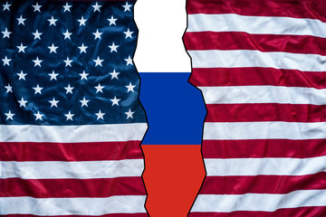 russia and american mixed torn flag