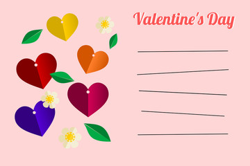Lovely colorful hearts for valentine message card vector. Greeting card. Picture with line for writing or typing your message.