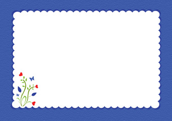 Blue scalloped border with floral design