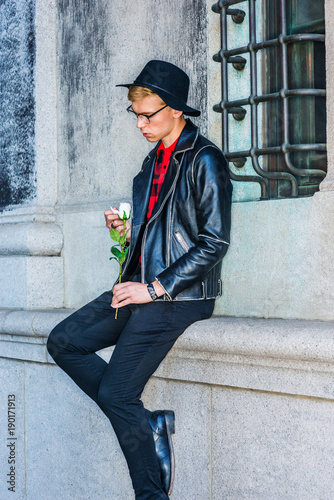Missing You Young American Man Wearing Black Leather Jacket