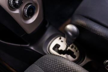 Automatic gear shift system in car,Cropped image