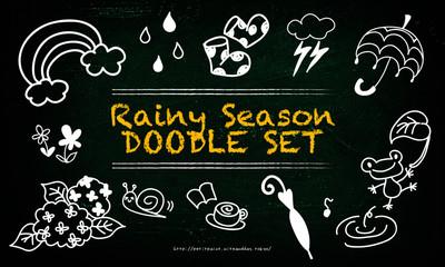 梅雨の手描きイラスト