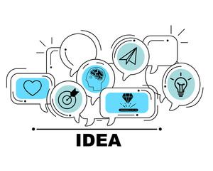 Idea icons set for business illustration design