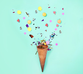 Ice cream cone with decoration for celebration