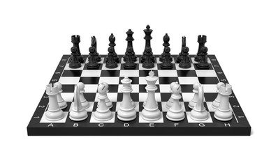 3d rendering of a chess board with a full set of figures in the starting position.