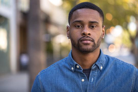 Young black man serious face portrait