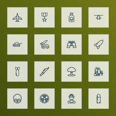 Battle icons line style set with rocket, cranium, bomb and other rocket 
