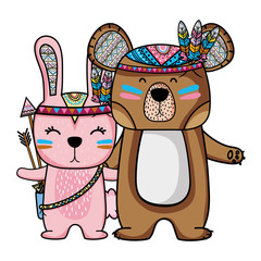 rabbit and bear animals with feathers design