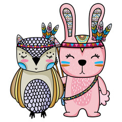 owl and rabbit animals with feathers design