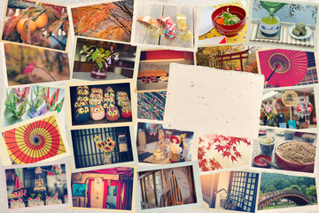 Collage of photos taken while traveling in Japan against the background of Japanese paper. Toned. A blank card in the form of a postcard for your photo or text. Travel to Japan concept.