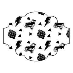 label pattern retro roller skate and rubik cube memphis vector illustration black image