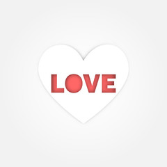 Simple white heart with Red love word on white background for valentine concept idea