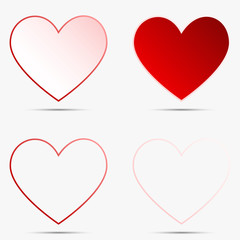 Four lovely Red and white heart icon 3d on white background for valentine concept idea