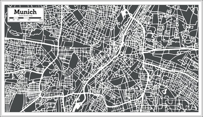 Munich Germany City Map in Retro Style. Outline Map.