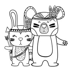line rabbit and bear animals with feathers design