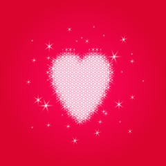 Valentine's love heart of small ordered glowing sparkles - on a transparent background. For example, a red gradient.