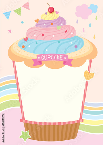 Rainbow Cupcake Design For Menu Template