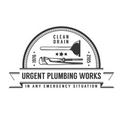 Simple retro logo plumbing services with plunger and pipe wrench.