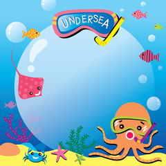 Illustration vector of cute octopus stingray crab and fish on undersea background.