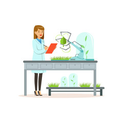 Female scientist and robotic arm conducting experiments in a modern laboratory, robotic arm working and testing green tree leaf, artificial intelligence concept vector illustration